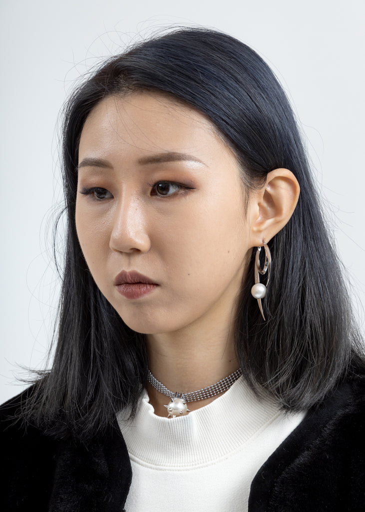 Silver Pearl Shape Earring (Single)