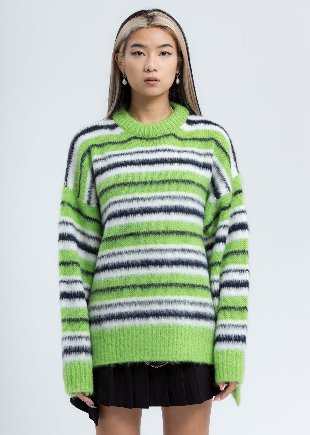 Green Mohair Stripe Knit Sweater