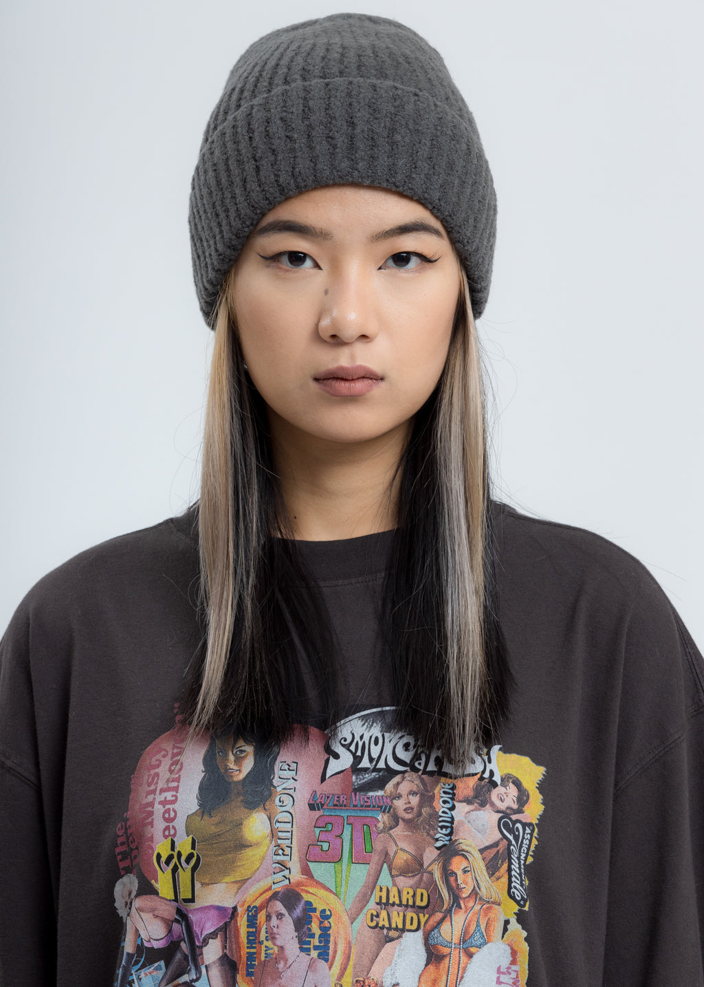 Grey Felted Knit Long Beanie W/Pin