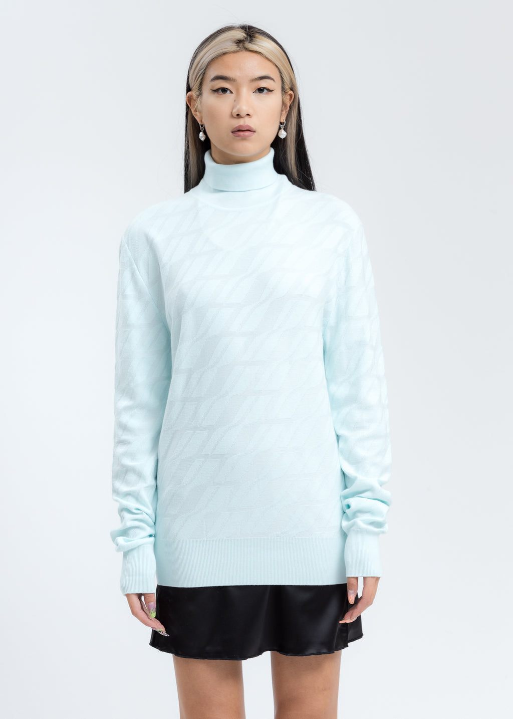 Mint Allover Logo Turtleneck