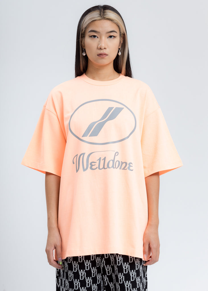 Neon Orange Reflective WE11DONE Logo T-Shirt