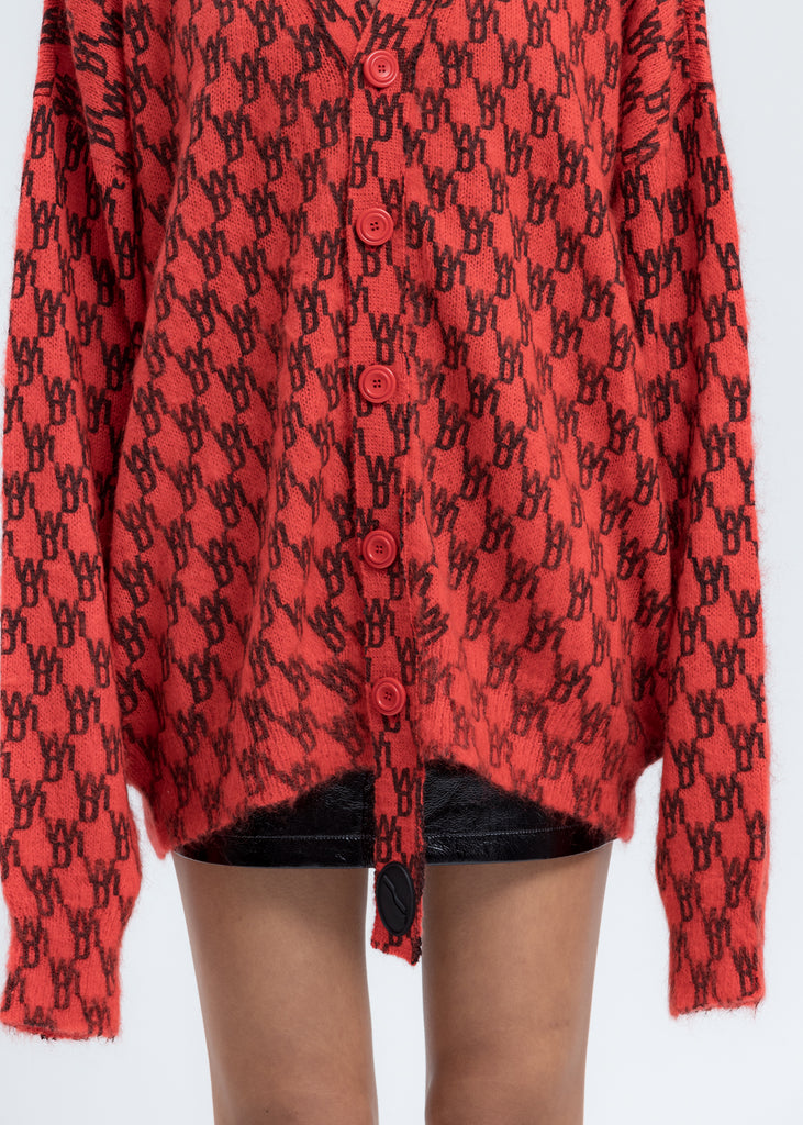 Red Logo Printed Mohair Cardigan