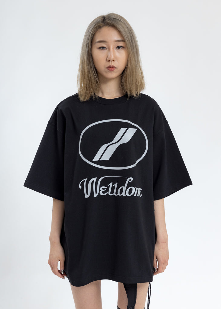 Black WE11DONE Reflective Logo T-Shirt