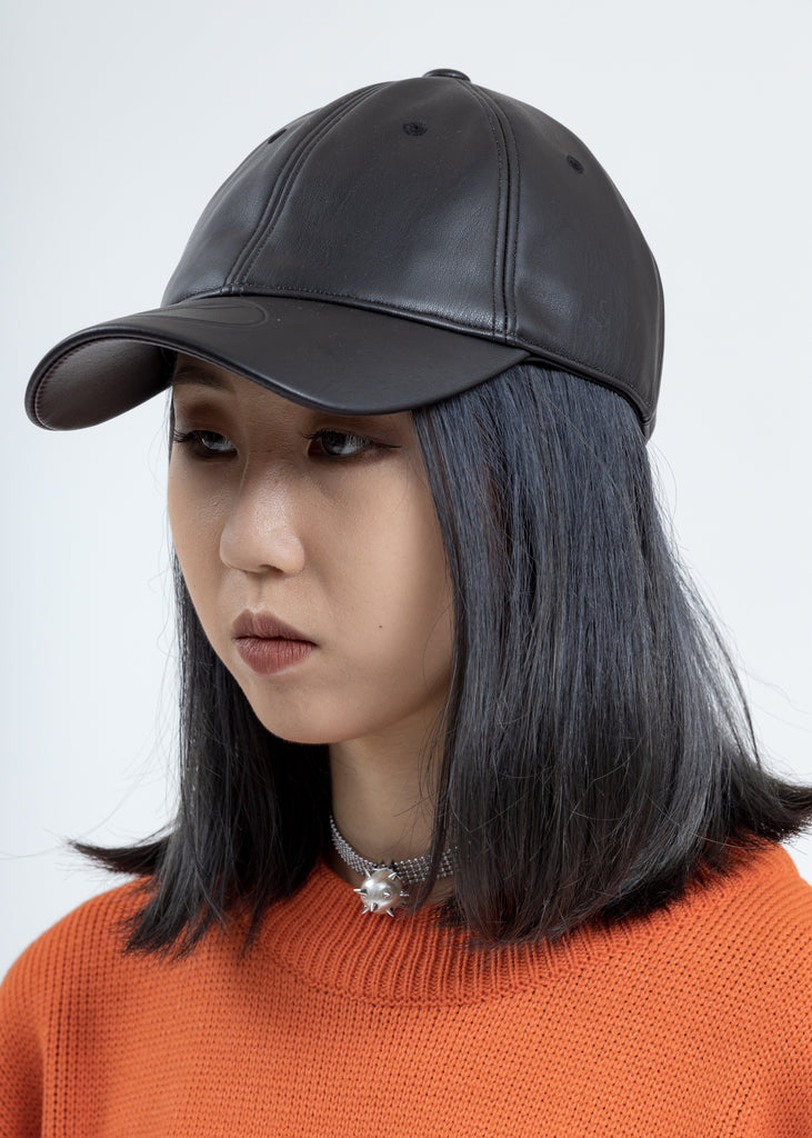 Black WD Embossed Logo Fake Leather Cap
