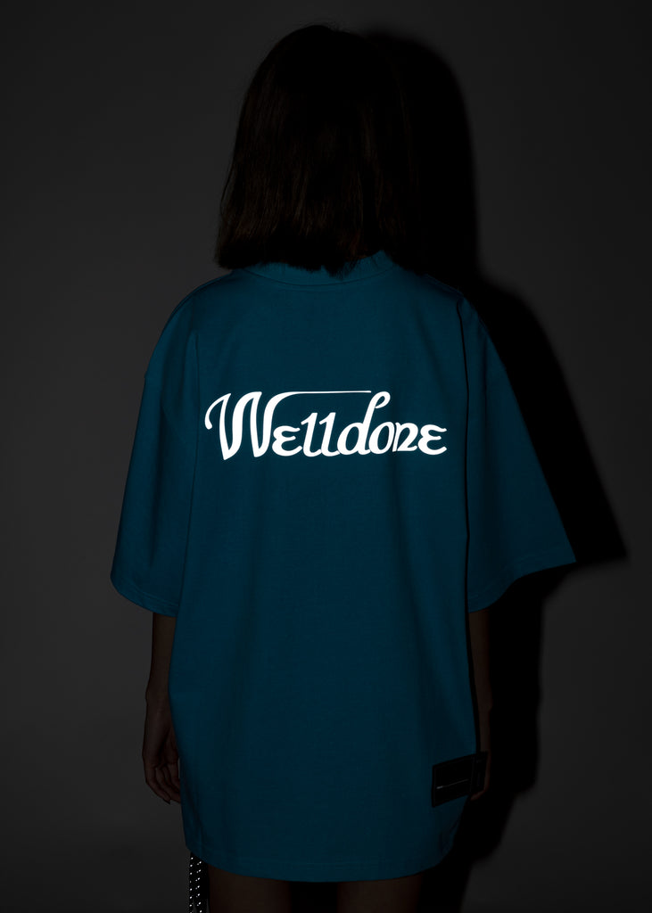 Neon Blue WE11DONE Reflective Logo T-Shirt