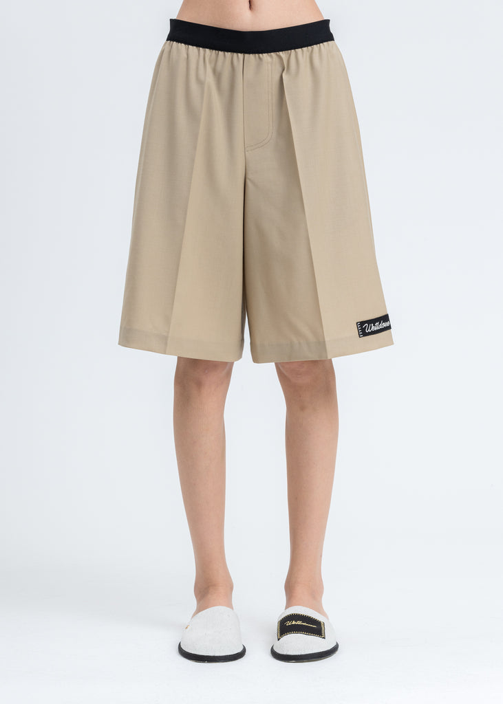 Beige Elasticated Waistband Shorts