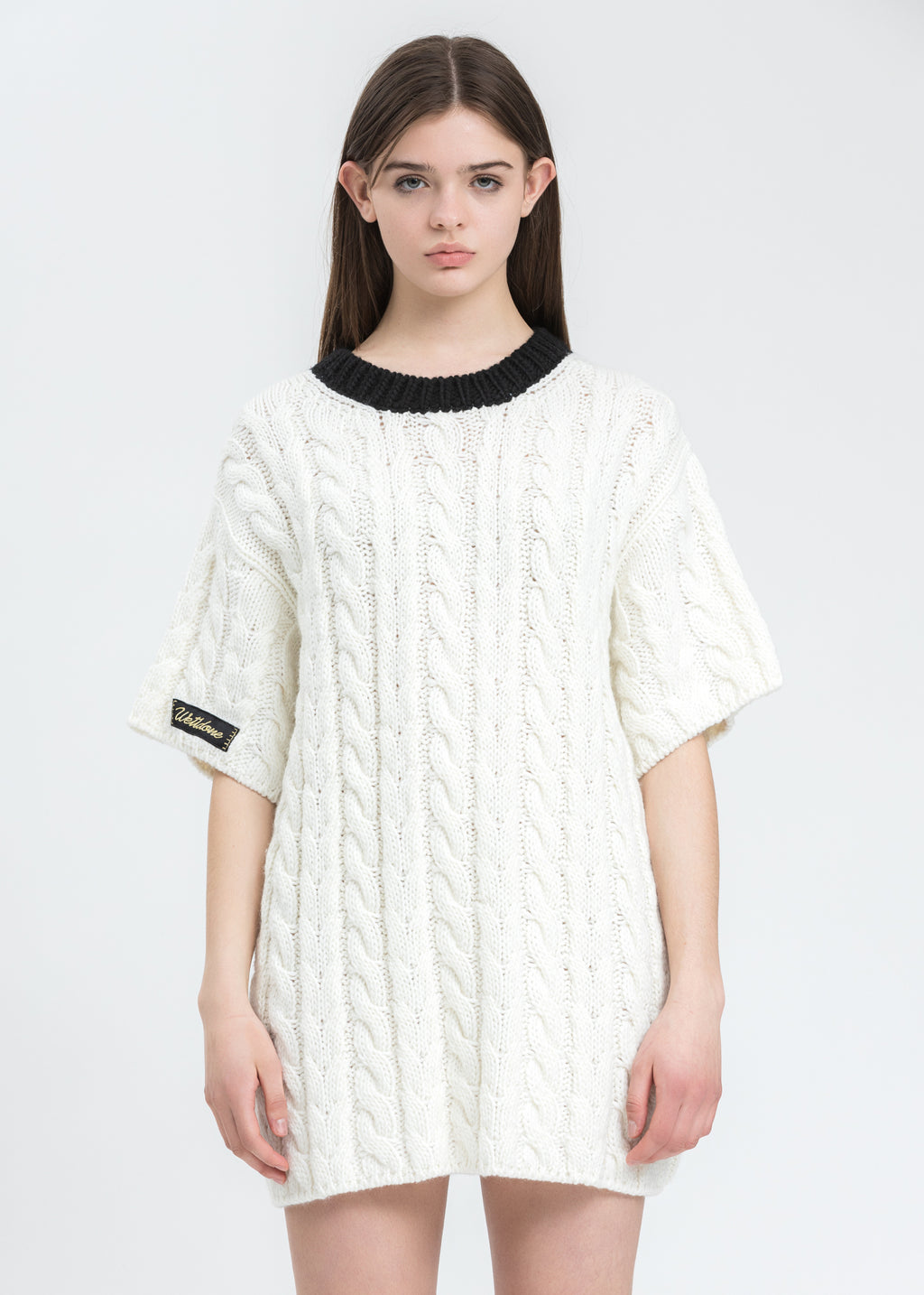 Black Short Sleeve Cable Sweater