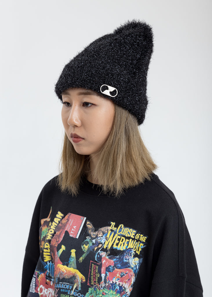 Glitter Black Embroidered Metal Logo Long Beanie