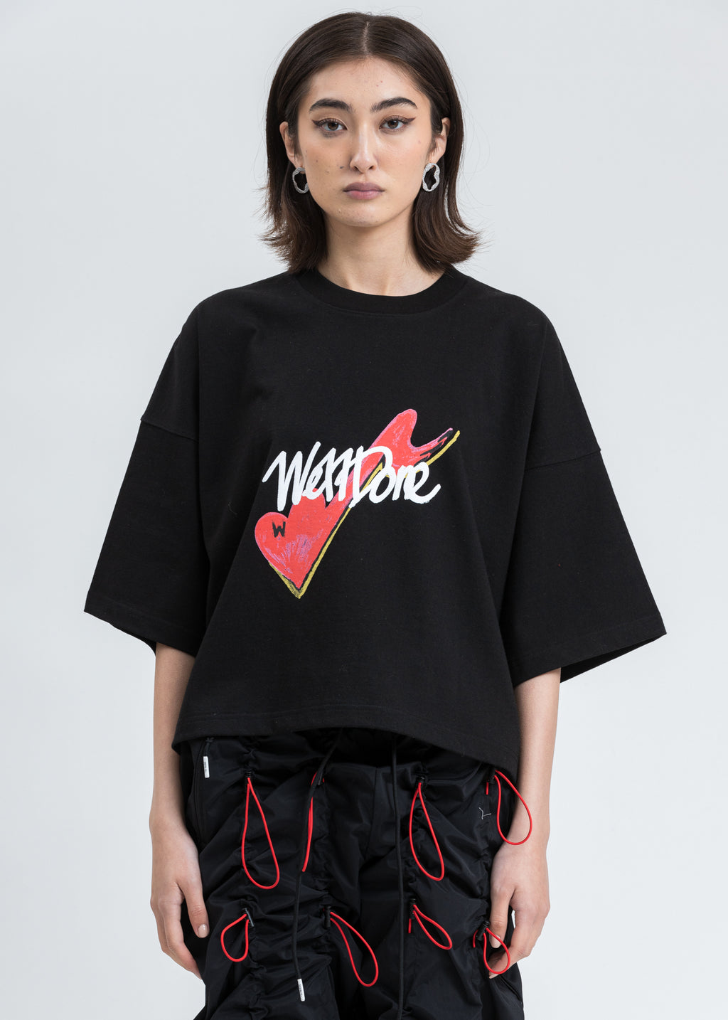 Black We11done Print Cropped T-Shirt