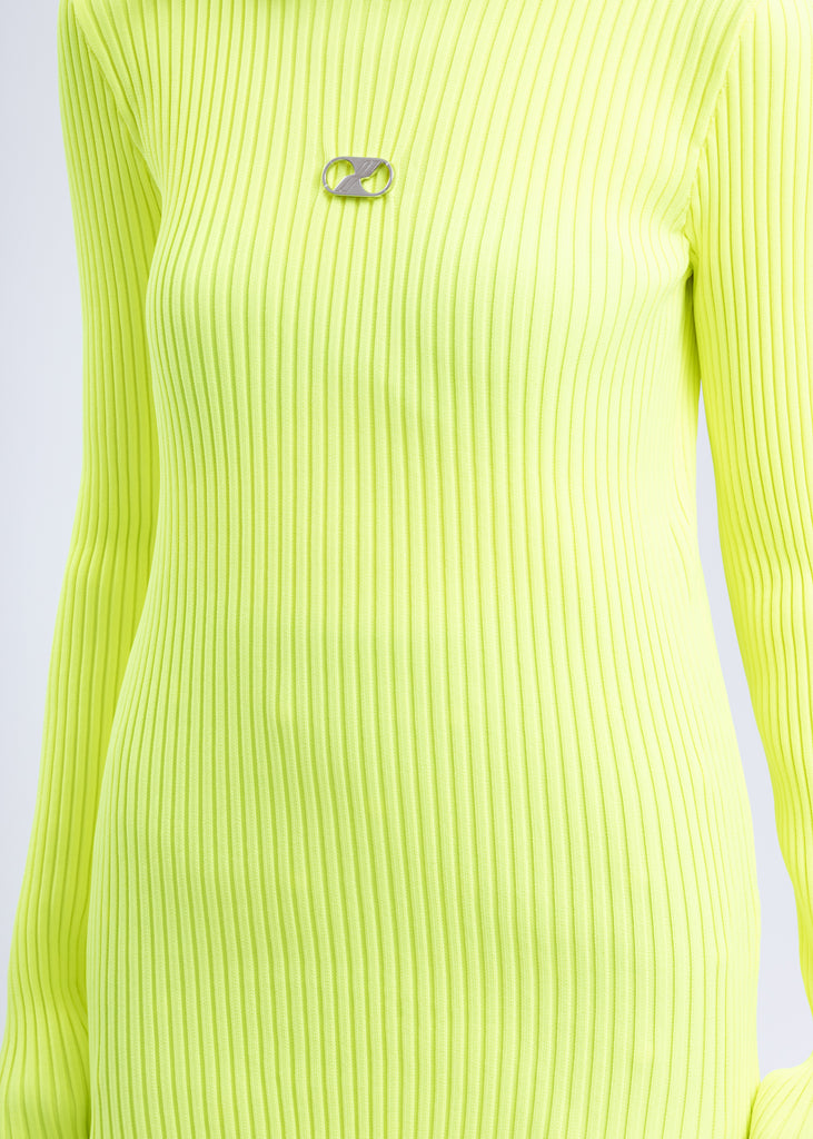 Neon Green Fitted Knit Top