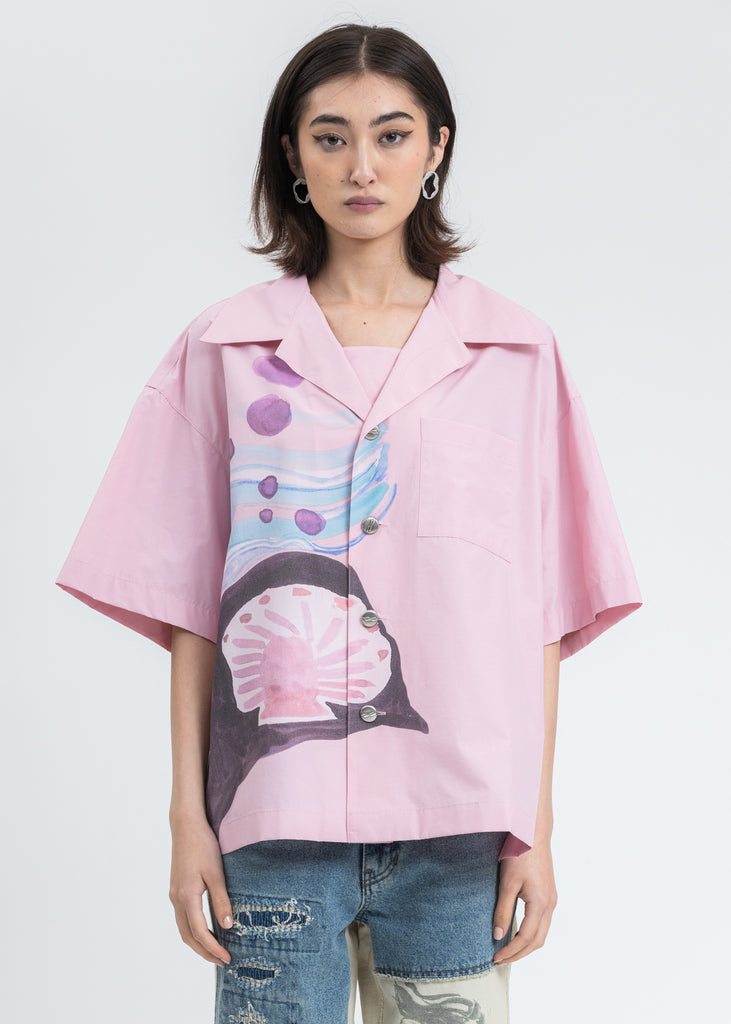 Pink Shell Print Short Sleeve Shirt