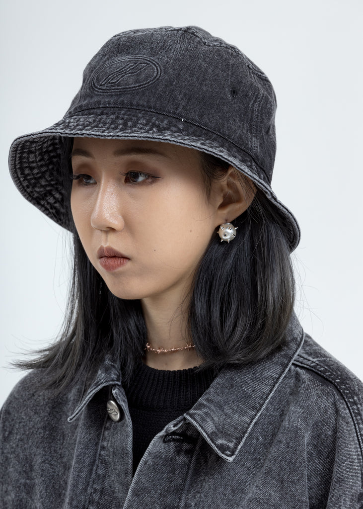 Wash Black WD Logo Embossed Denim Bucket Hat