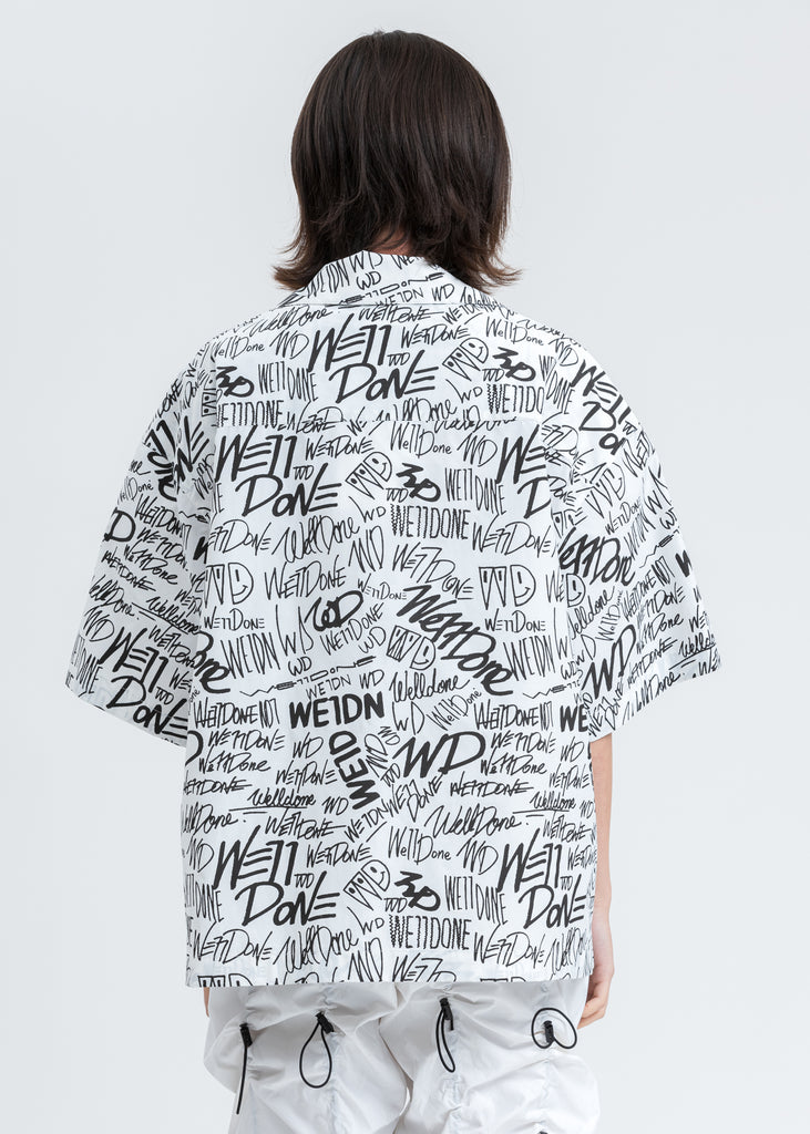 White Allover Logo Short Sleeve Shirt