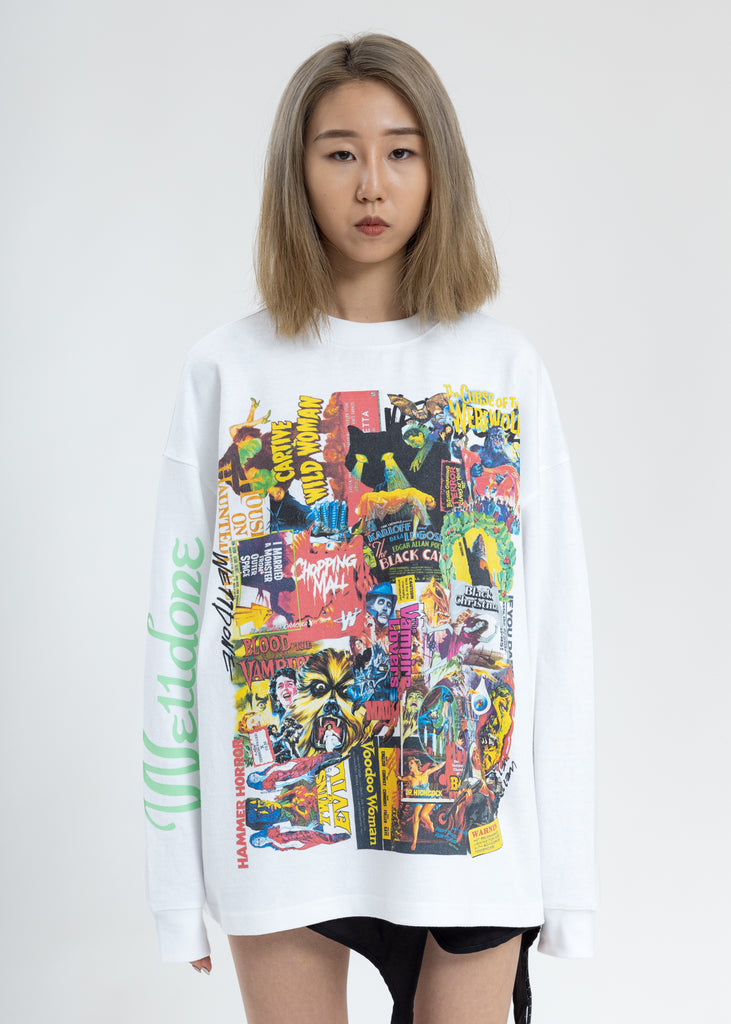 White Horror Collage Long Sleeves