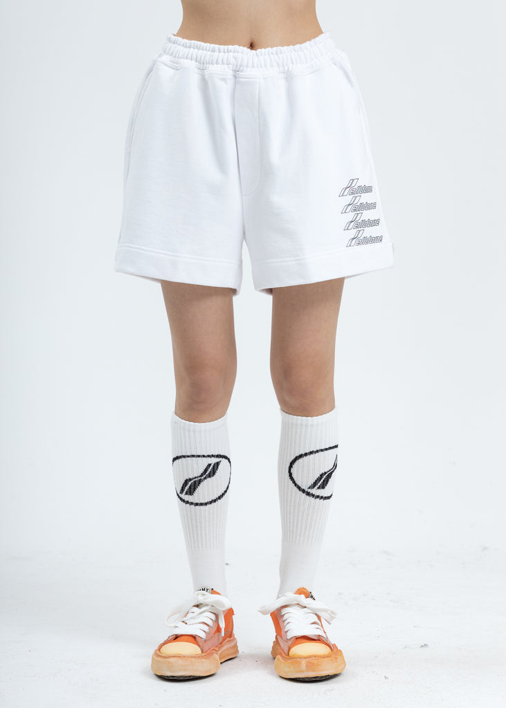 White Iridescent Logo Shorts