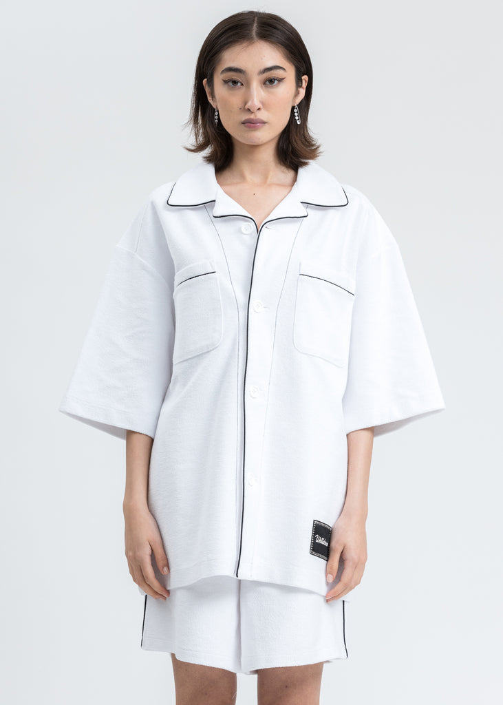 White Zurry Pyjama Top Short Sleeve