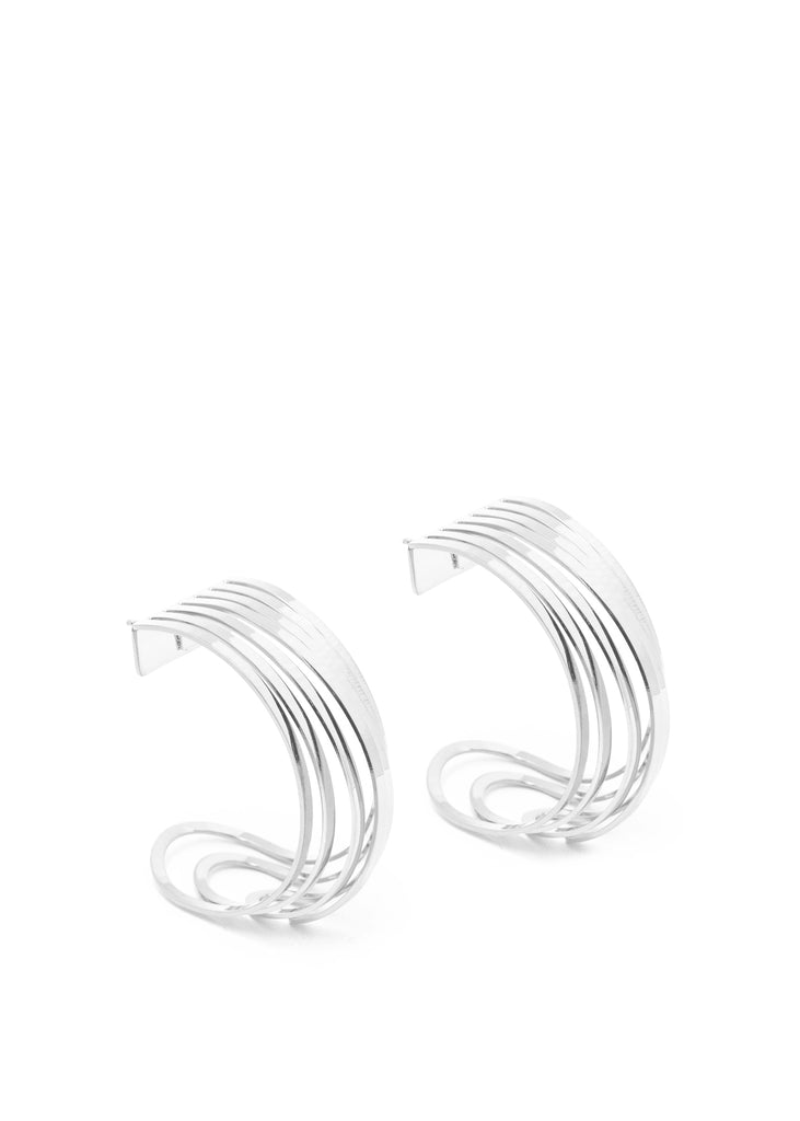 Mini Silver Deconstructed Hoop Earrings (Single)