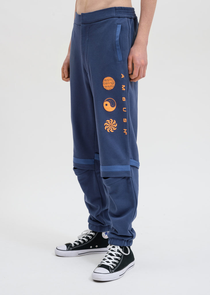Blue Patchwork Sweatpants