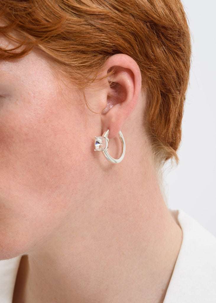 Silver Solitaire Earring