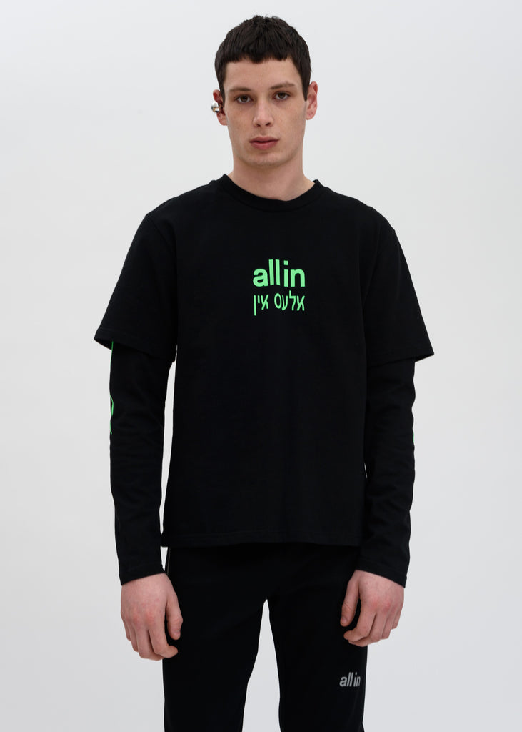 all in, Black Green Yiddish LS T-Shirt, 017 Shop