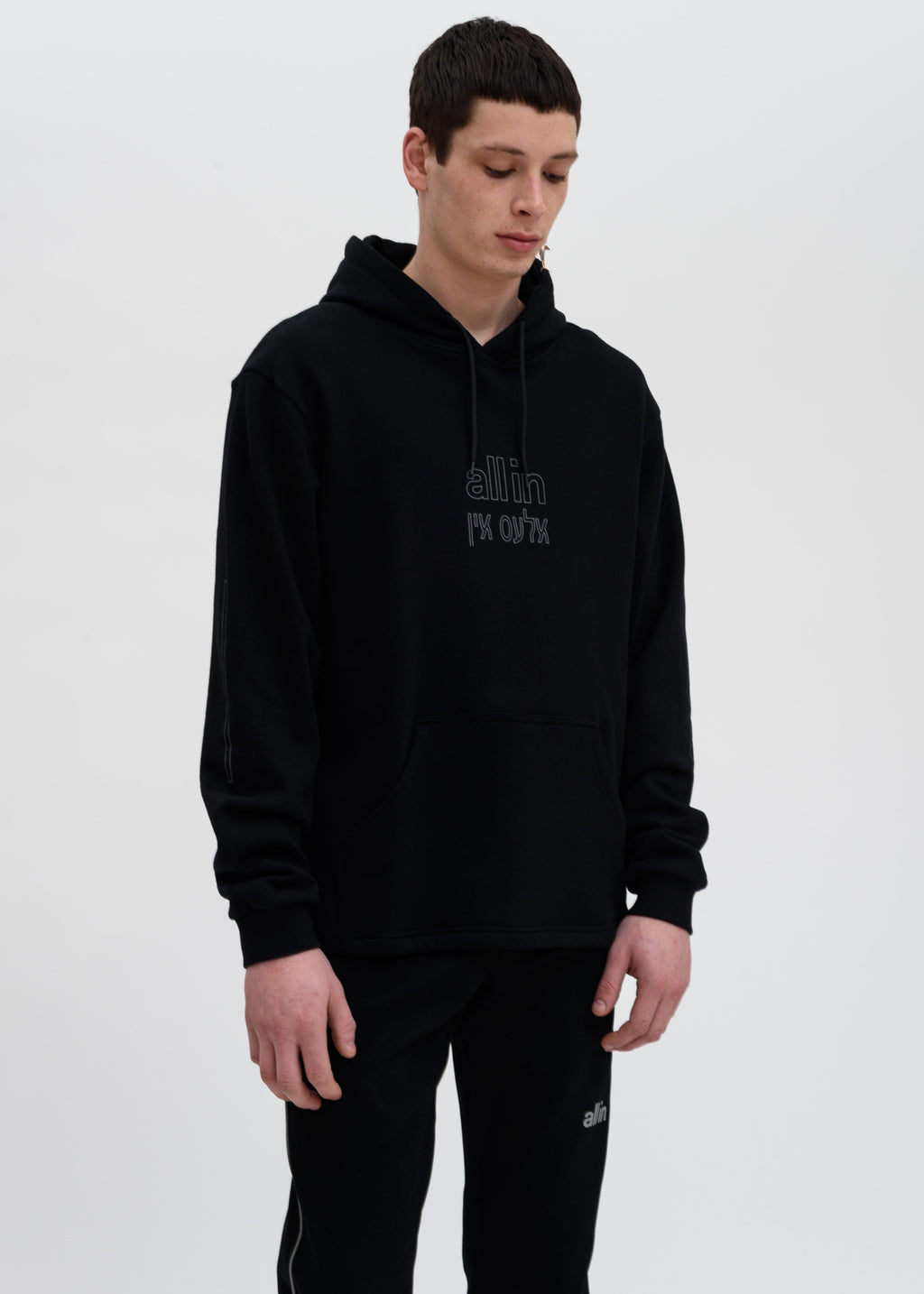 Black Grey Yiddish Hoodie