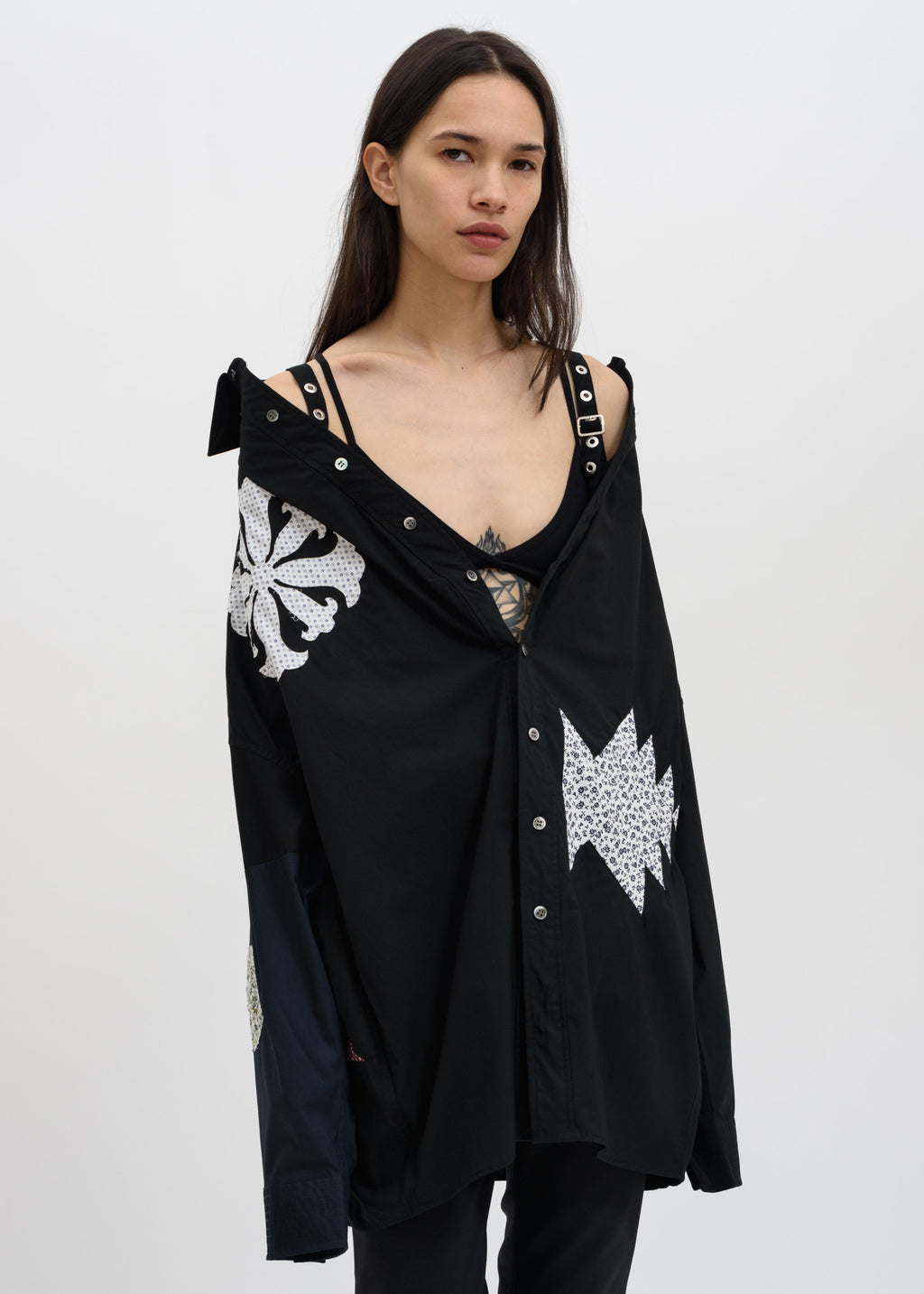 Ambush, Black Off Shoulder Shirt, 017 Shop