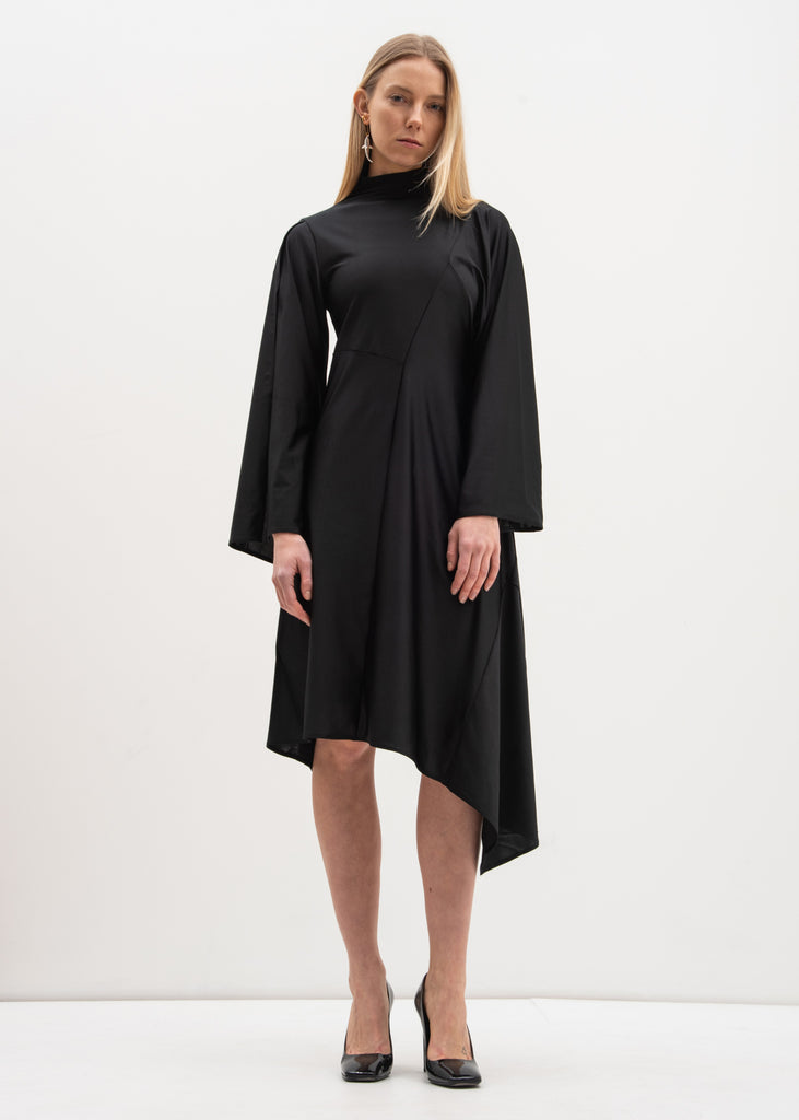 Black Waves Patchwork Drape Dress