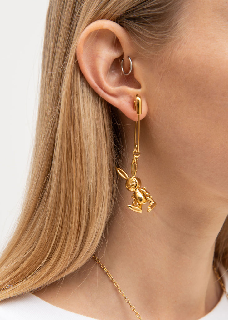 Gold Inflatable Bunny Earring