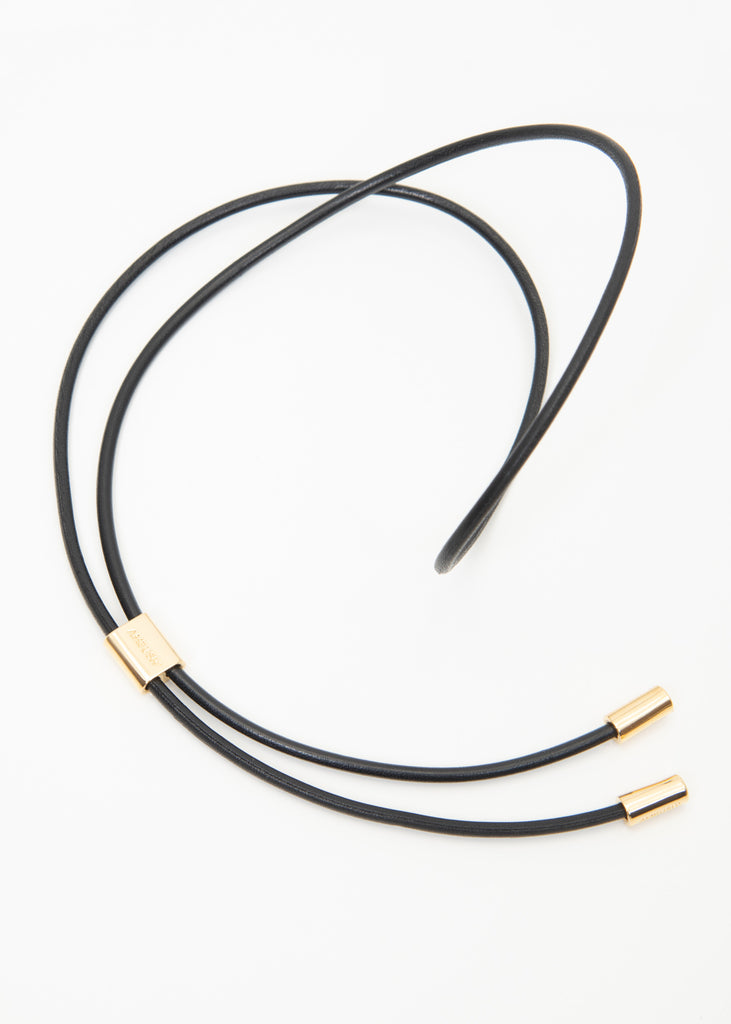 Gold Leather Strap Necklace (M)