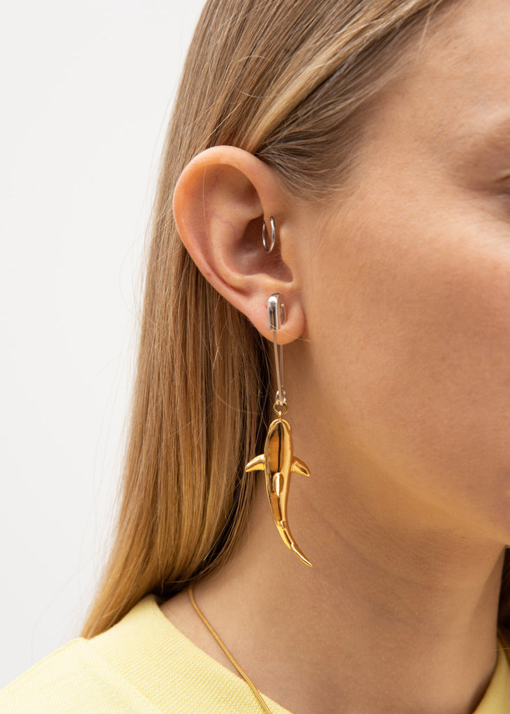 Gold Shark Earring