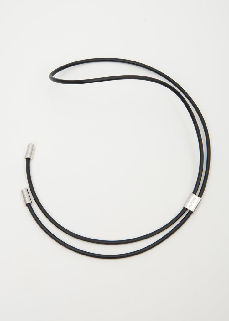 Silver Leather Strap Necklaces (M)