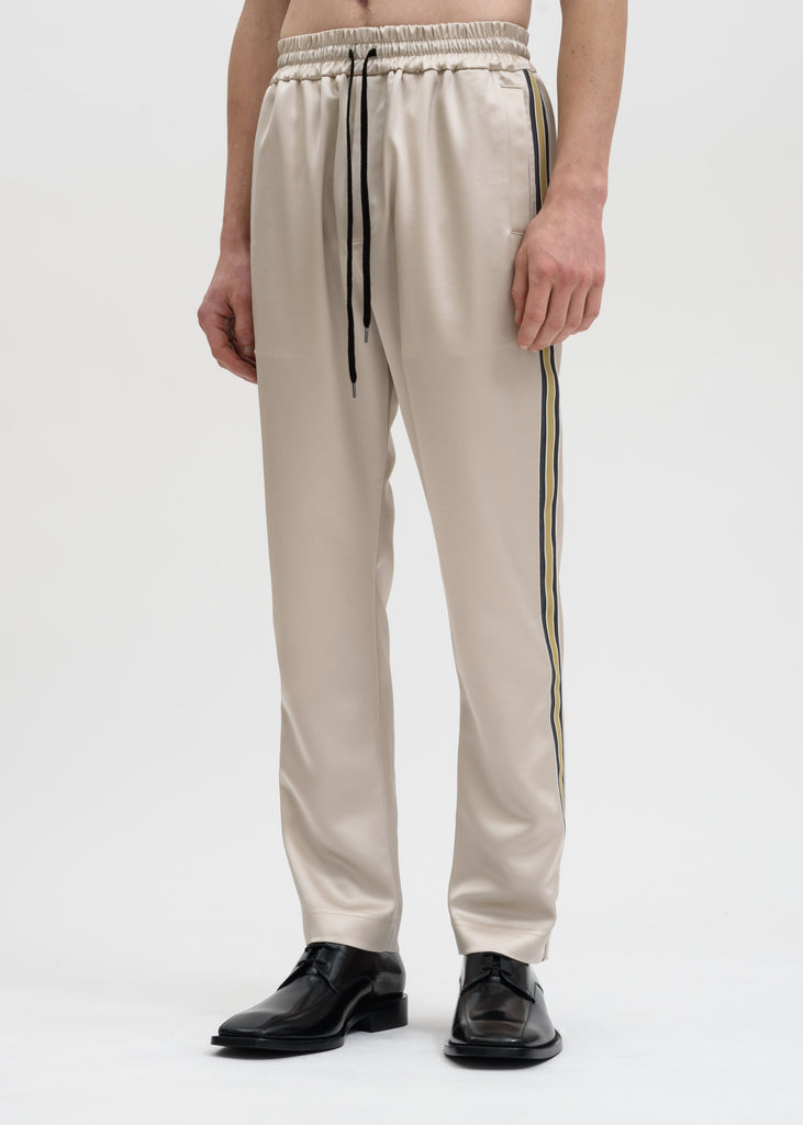 Cmmn Swdn, Beige Buck Japanese Satin Track Pant, 017 Shop