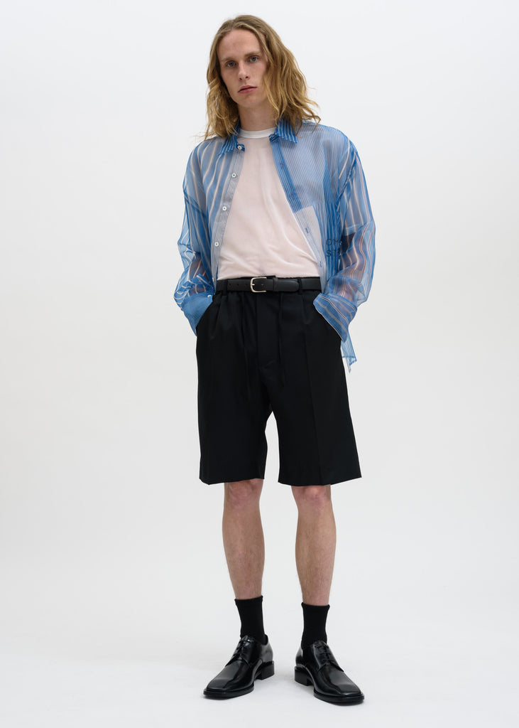 Cmmn Swdn, Blue Cecil Strike Off Silk Shirt, 017 Shop