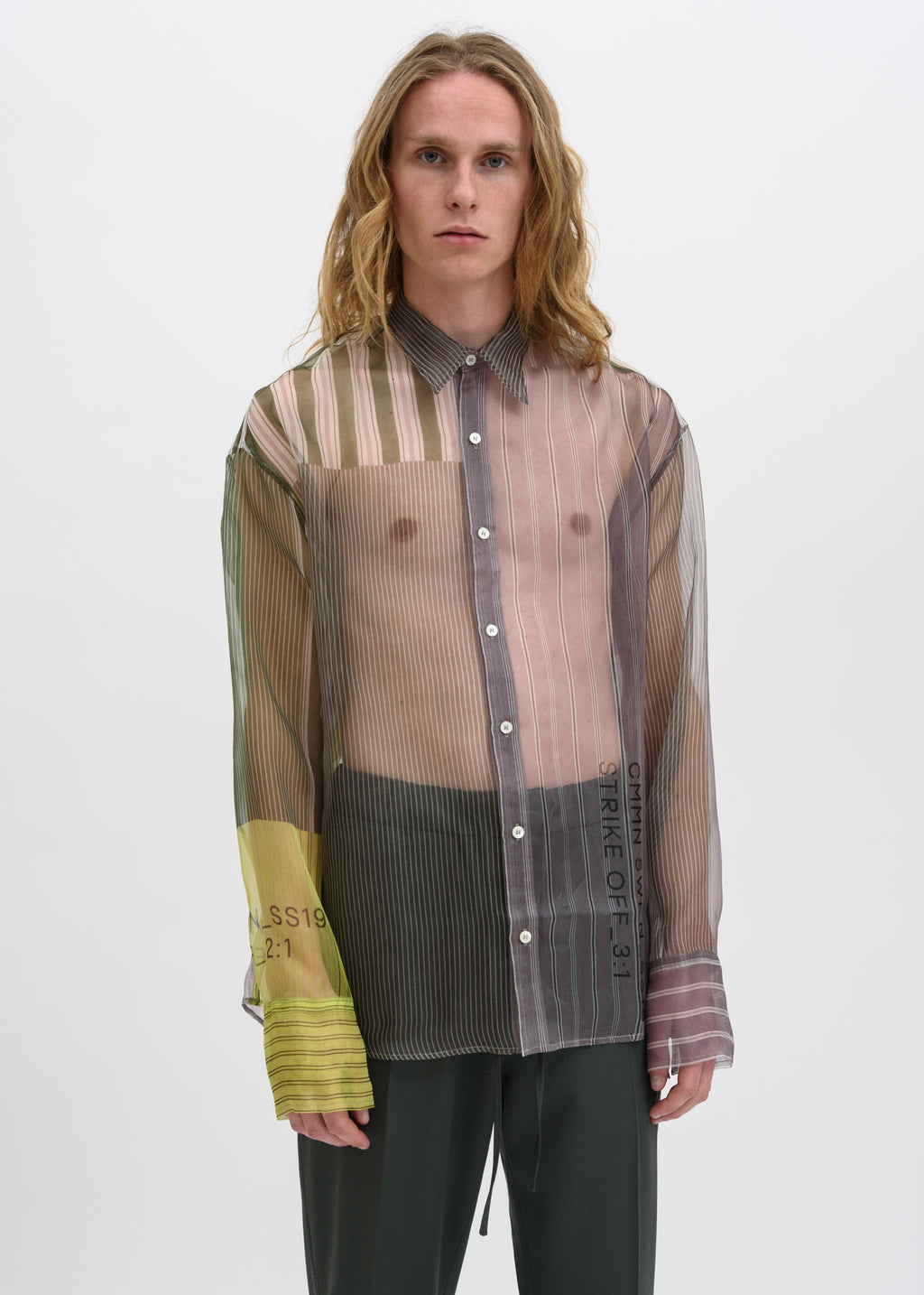 Cmmn Swdn, Grey Cecil Strike Off Silk Shirt, 017 Shop