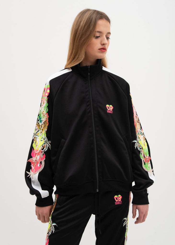 Black Chaos Embroidery Track Jacket