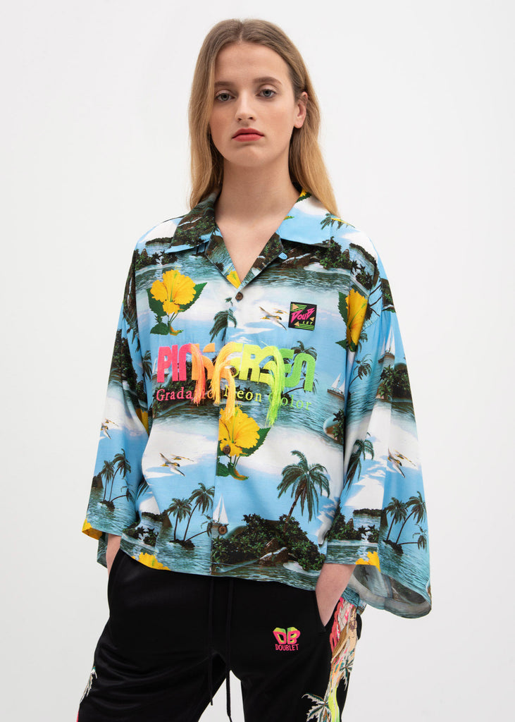 Blue Sky Neon Embroidery Aloha Shirt