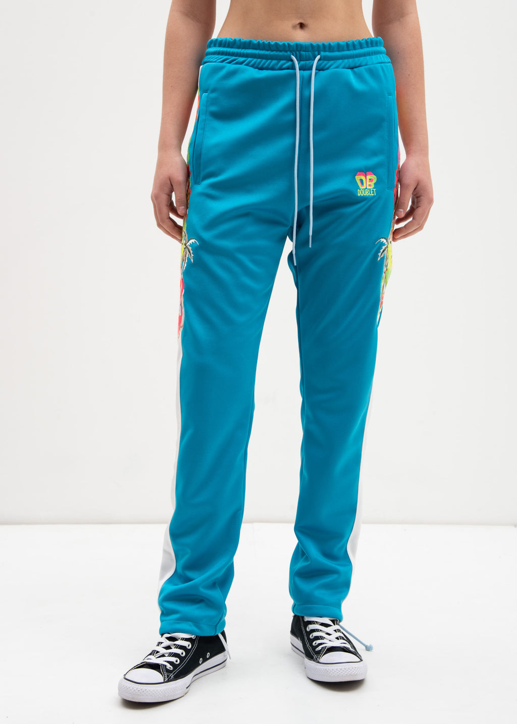 Light Blue Chaos Embroidery Track Pants