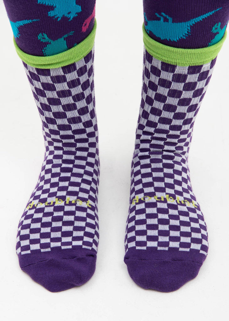 Purple 3 Layered Checker Flag Socks