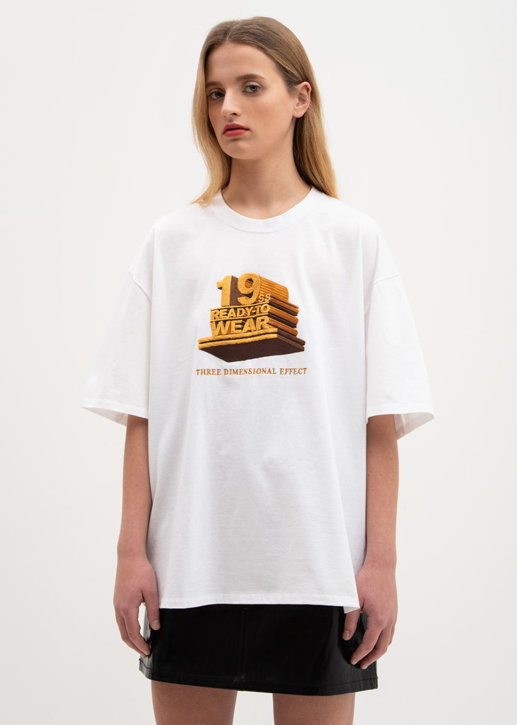 "White ""19SS"" 3D Embroidery T-Shirt"