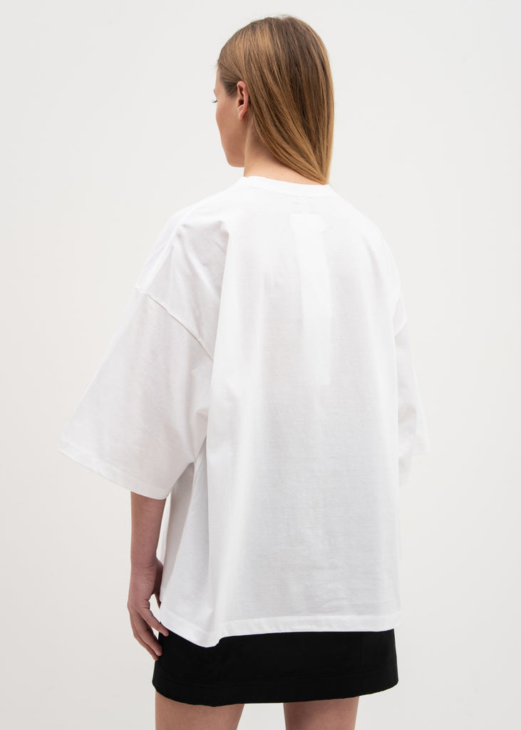 White Gradation Neon Embroidery T-Shirt