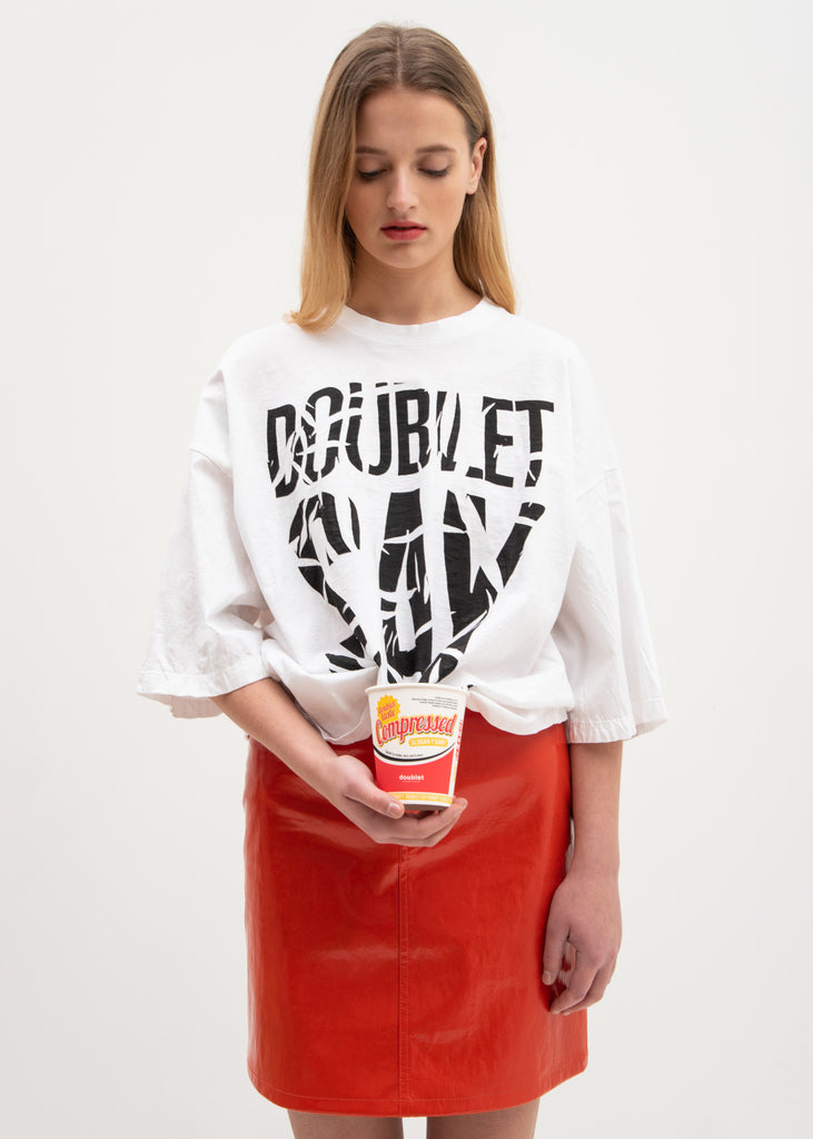White Slogan T-Shirt in Instant Noodle Cup