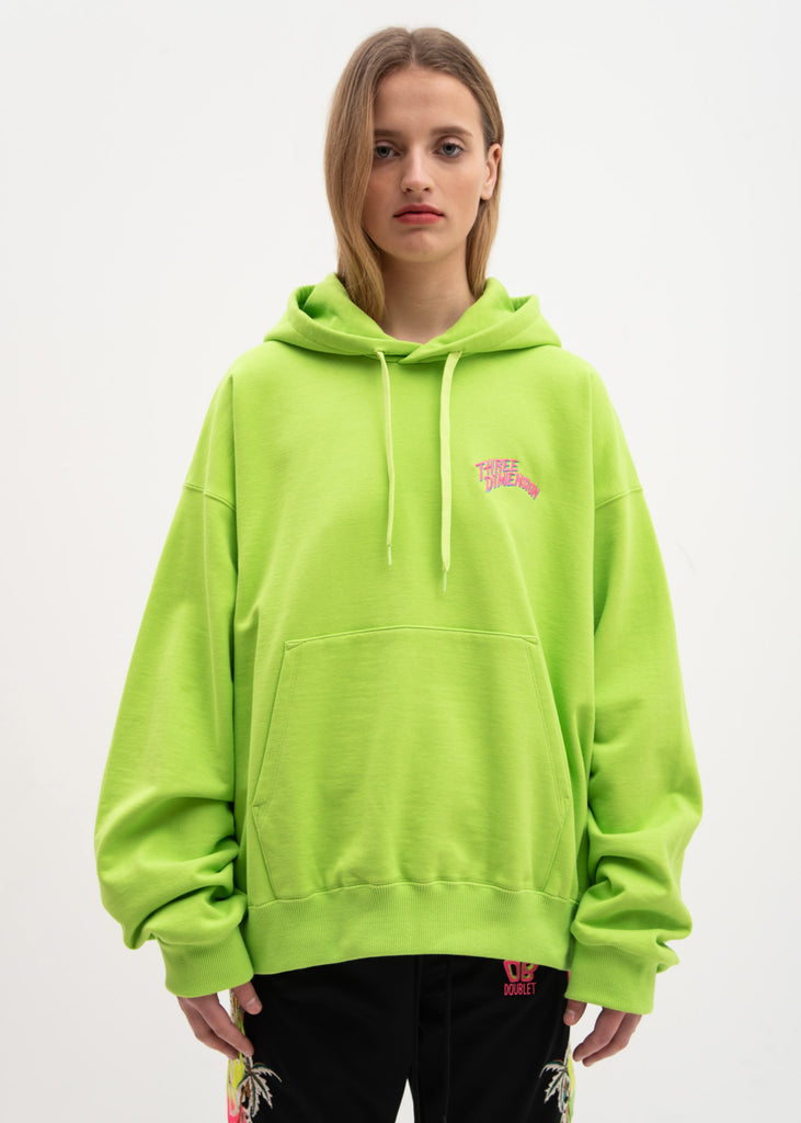 Yellow Green Chaos Embroidery Hoodie