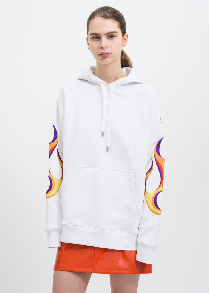 White Flaming Racing Hoodie