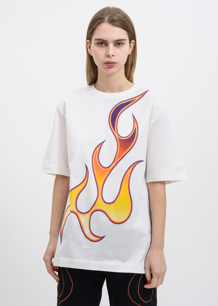 Etudes, White Unity Flaming T-Shirt, 017 Shop