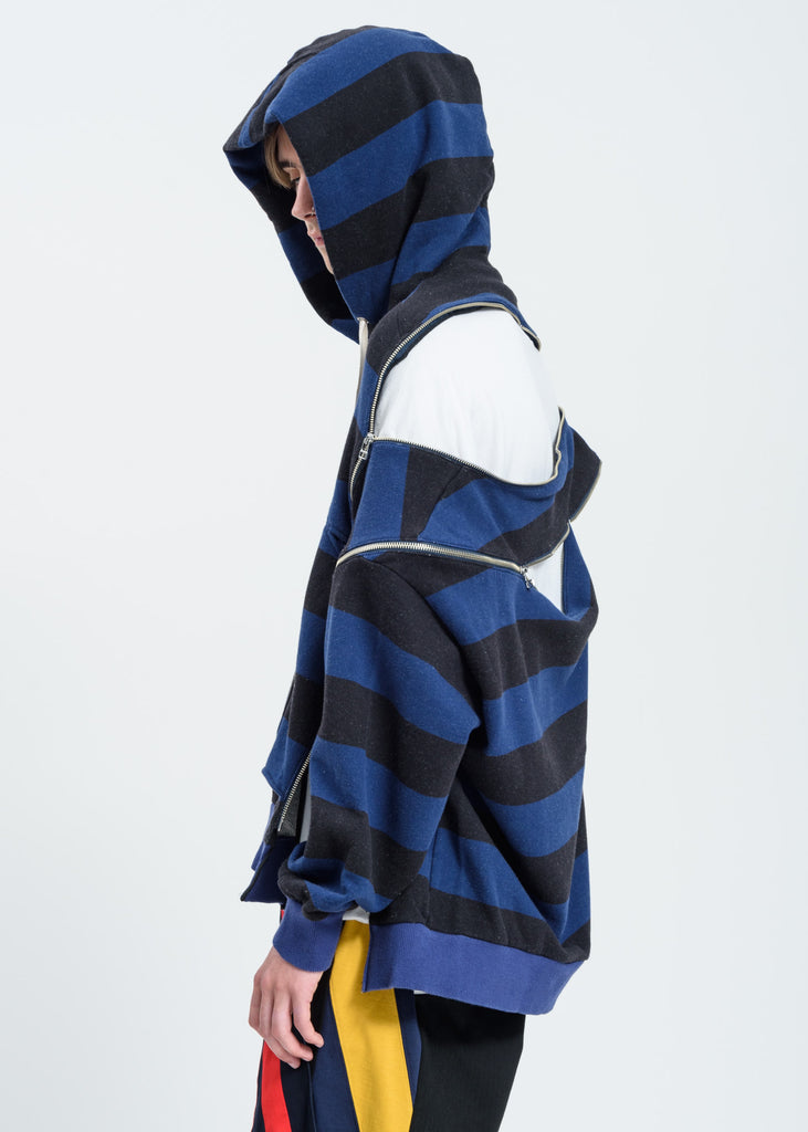 Black And Blue Panelled Zipper Hoodie