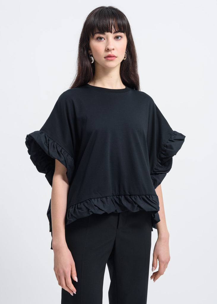 Facetasm, Black Bow Detail T-Shirt, 017 Shop