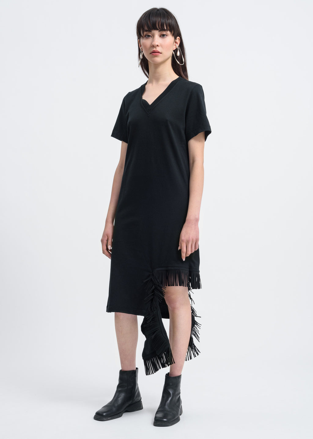 Black Fringe Detail Dress