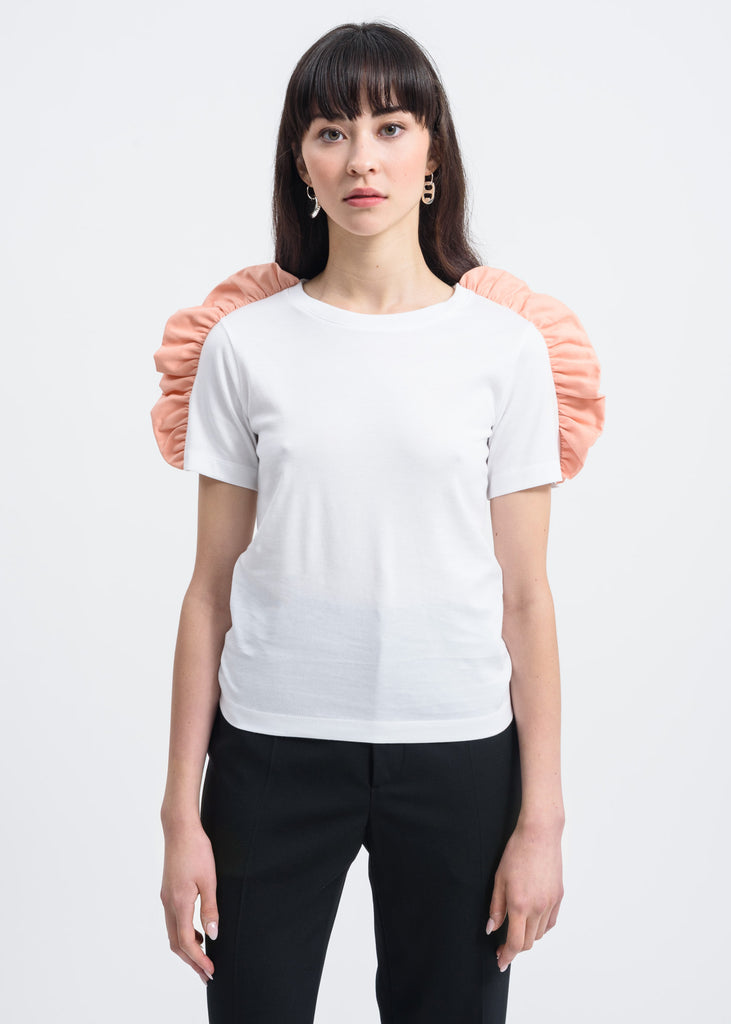 Facetasm, Pink Bow Shoulder Detail T-Shirt, 017 Shop