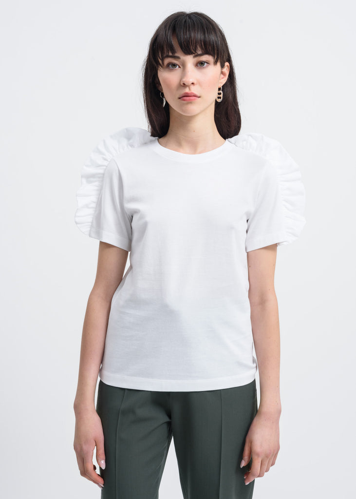 White Bow Shoulder Detail T-Shirt