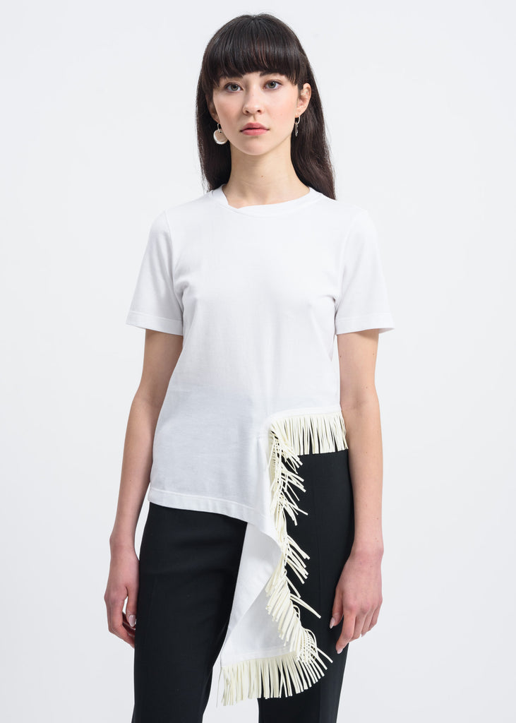 White Fringe Detail T-Shirt